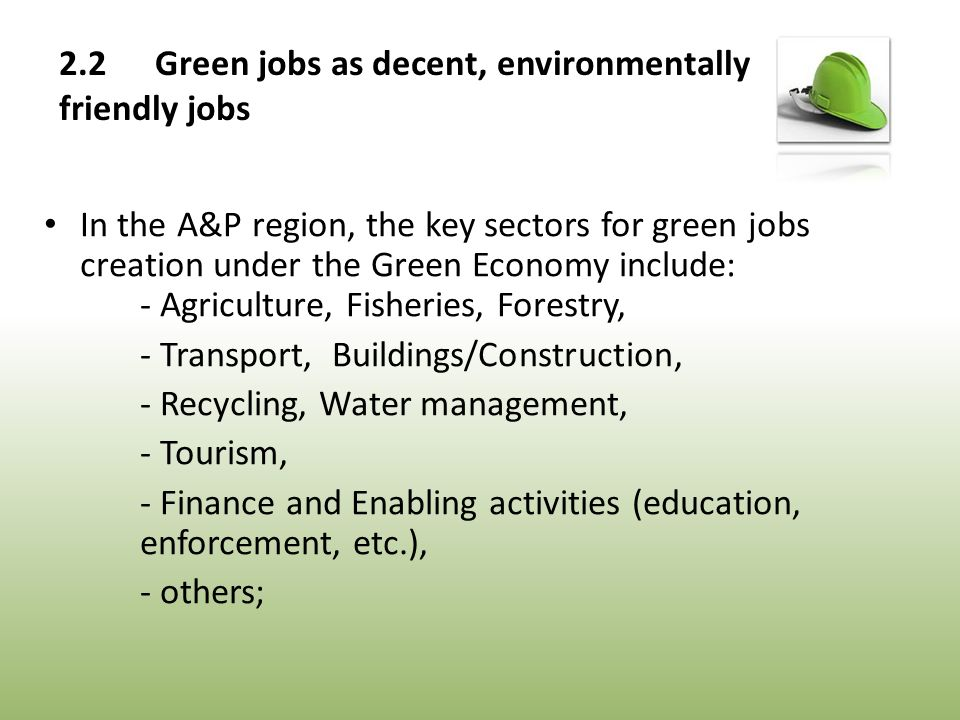 In the A&P region, the key sectors for green jobs creation under the Green Economy include: - Agriculture, Fisheries, Forestry, - Transport, Buildings/Construction, - Recycling, Water management, - Tourism, - Finance and Enabling activities (education, enforcement, etc.), - others;