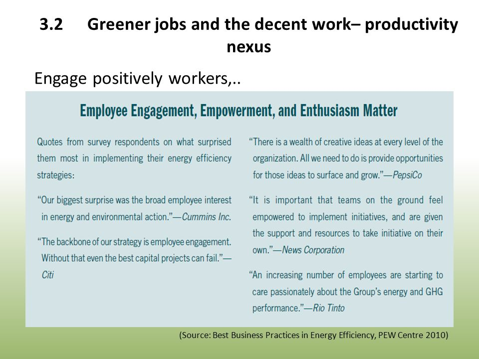 Engage positively workers,..