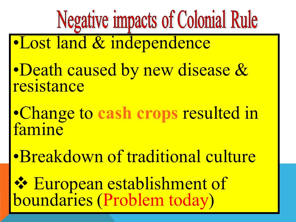 Lost land & independence Death caused by new disease & resistance Change to cash crops resulted in famine Breakdown of traditional culture  European establishment of boundaries (Problem today)