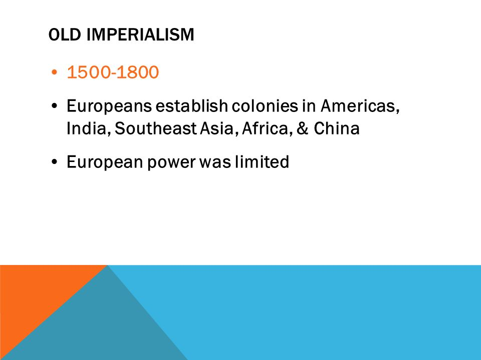 OLD IMPERIALISM Europeans establish colonies in Americas, India, Southeast Asia, Africa, & China European power was limited