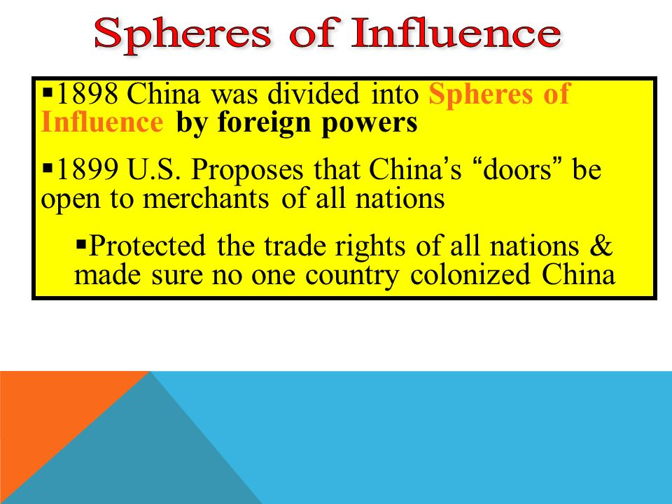  1898 China was divided into Spheres of Influence by foreign powers  1899 U.S.