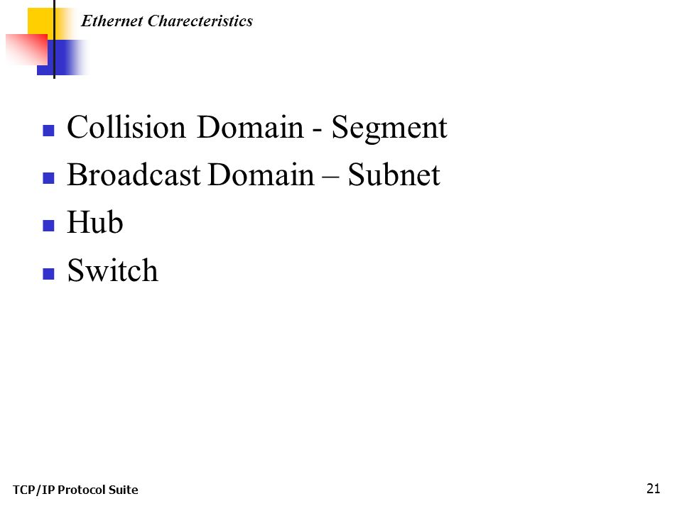 TCP/IP Protocol Suite 21 Collision Domain - Segment Broadcast Domain – Subnet Hub Switch Ethernet Charecteristics