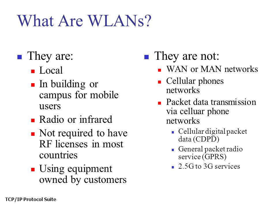 TCP/IP Protocol Suite What Are WLANs.