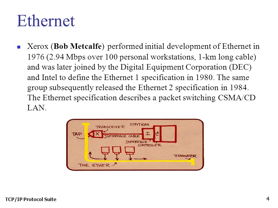 TCP/IP Protocol Suite 4 Ethernet Xerox (Bob Metcalfe) performed initial development of Ethernet in 1976 (2.94 Mbps over 100 personal workstations, 1-km long cable) and was later joined by the Digital Equipment Corporation (DEC) and Intel to define the Ethernet 1 specification in 1980.
