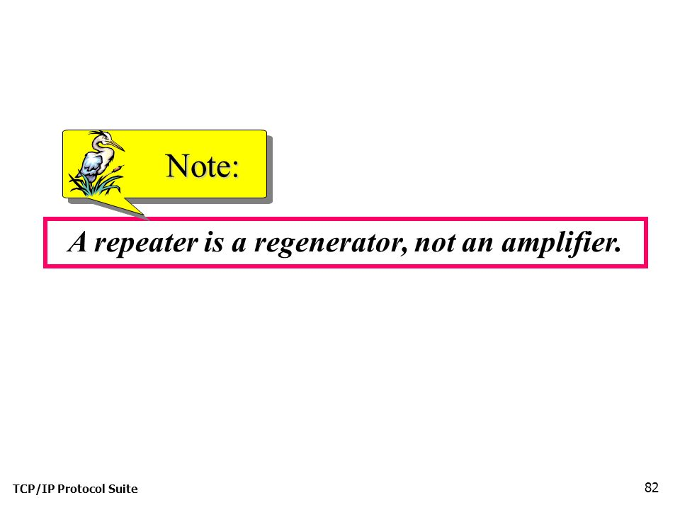 TCP/IP Protocol Suite 82 A repeater is a regenerator, not an amplifier. Note: