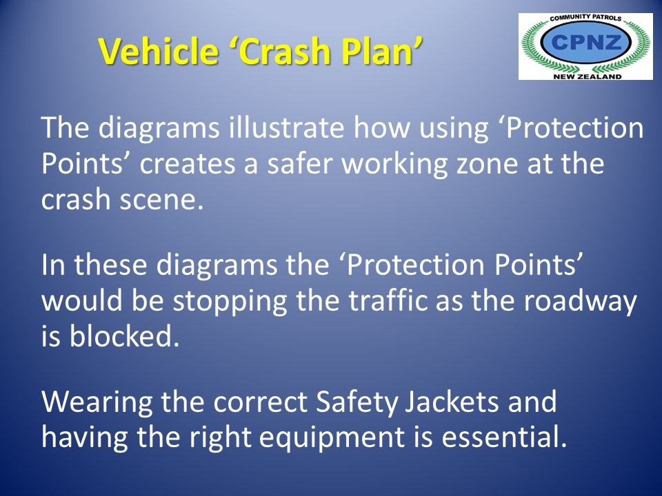 The diagrams illustrate how using 'Protection Points' creates a safer working zone at the crash scene.