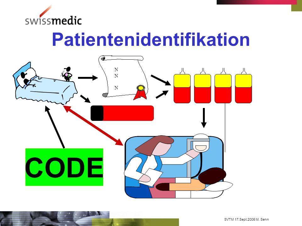SVTM 17.Sept.2005 M. Senn Patientenidentifikation CODE NN NNN N