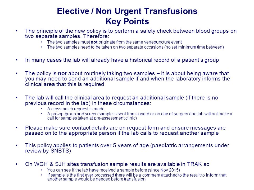 New policy starts 5th April 2016 IMPORTANT CHANGE TO BLOOD ...