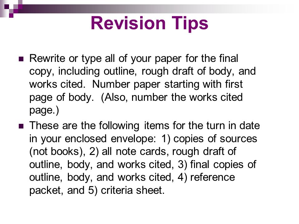 Example of a work cited page for a research paper