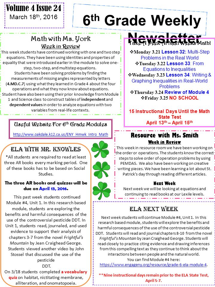 6 th grade weekly newsletter volume 4 issue 24 march 18 th 2016 6 th grade weekly newsletter math with ms publicscrutiny Images