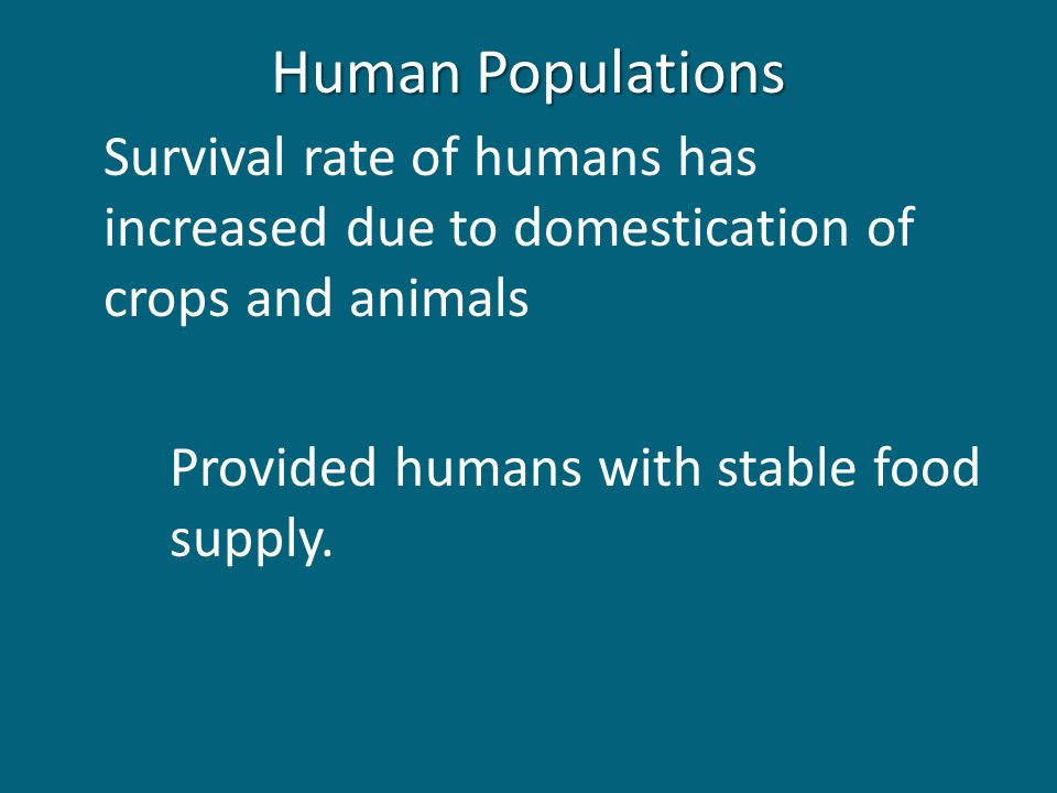 Human Populations Survival rate of humans has increased due to domestication of crops and animals Provided humans with stable food supply.
