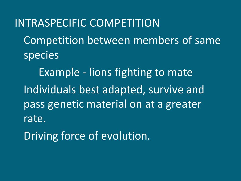 INTRASPECIFIC COMPETITION Competition between members of same species Example - lions fighting to mate Individuals best adapted, survive and pass genetic material on at a greater rate.