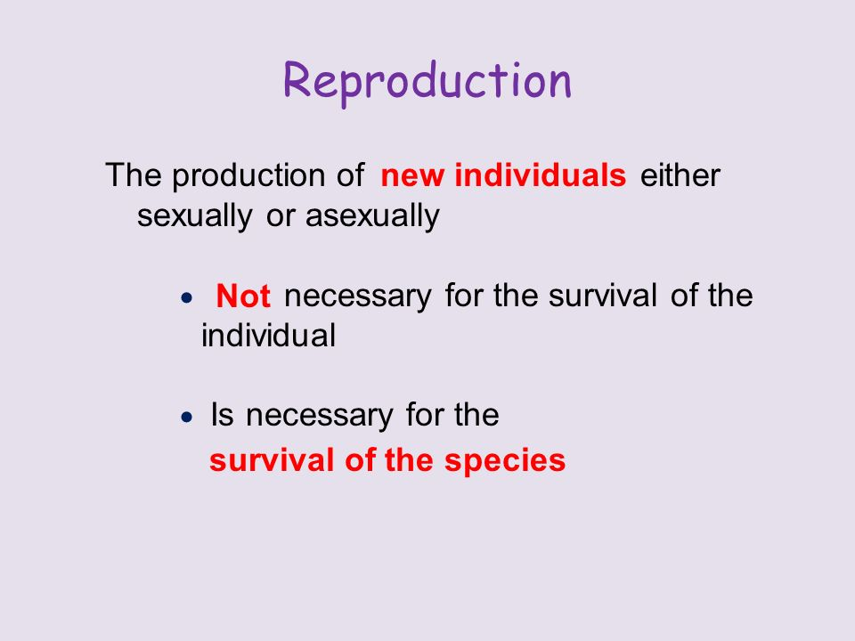 Reproduction The production of either sexually or asexually  necessary for the survival of the individual  Is necessary for the new individuals Not survival of the species