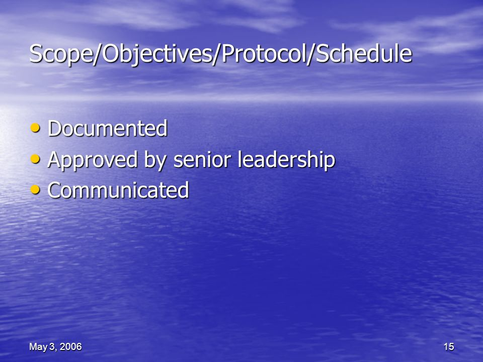 May 3, 200615 Scope/Objectives/Protocol/Schedule Documented Documented Approved by senior leadership Approved by senior leadership Communicated Communicated