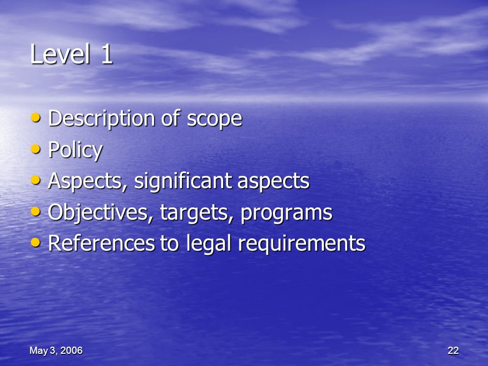 May 3, 200622 Level 1 Description of scope Description of scope Policy Policy Aspects, significant aspects Aspects, significant aspects Objectives, targets, programs Objectives, targets, programs References to legal requirements References to legal requirements