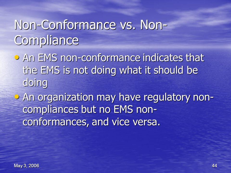 May 3, 200644 Non-Conformance vs.