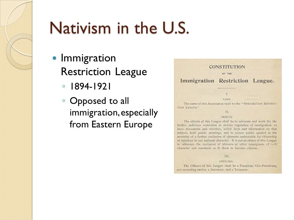 nativism race and immigrants Nativism is a reaction against immigrants with nativism, people of the same race may dislike each other nativism has been a major theme in united states history.