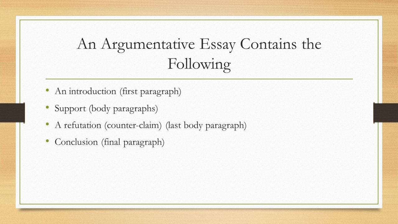 argumentative writing an argumentative essay contains the  2 an argumentative essay contains the following an introduction first paragraph support body paragraphs a refutation counter claim last body