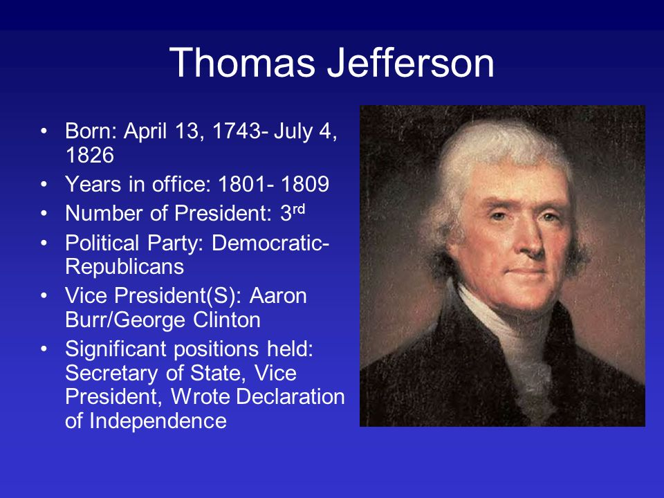 democratic republican party and thomas jefferson Thomas jefferson and the ideology of democratic schooling james carpenter (binghamton university) statement on education in republican, or democratic.