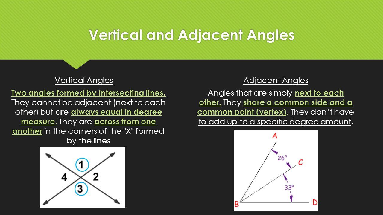 Vertical adjacent angles worksheet