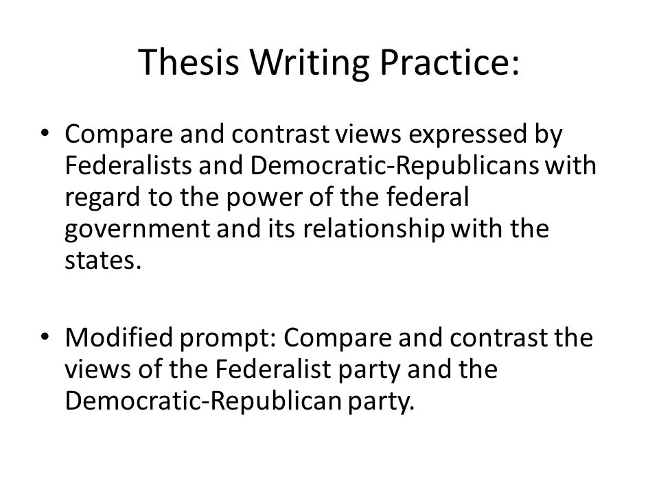 compare and contrast federalist party and democratic republican