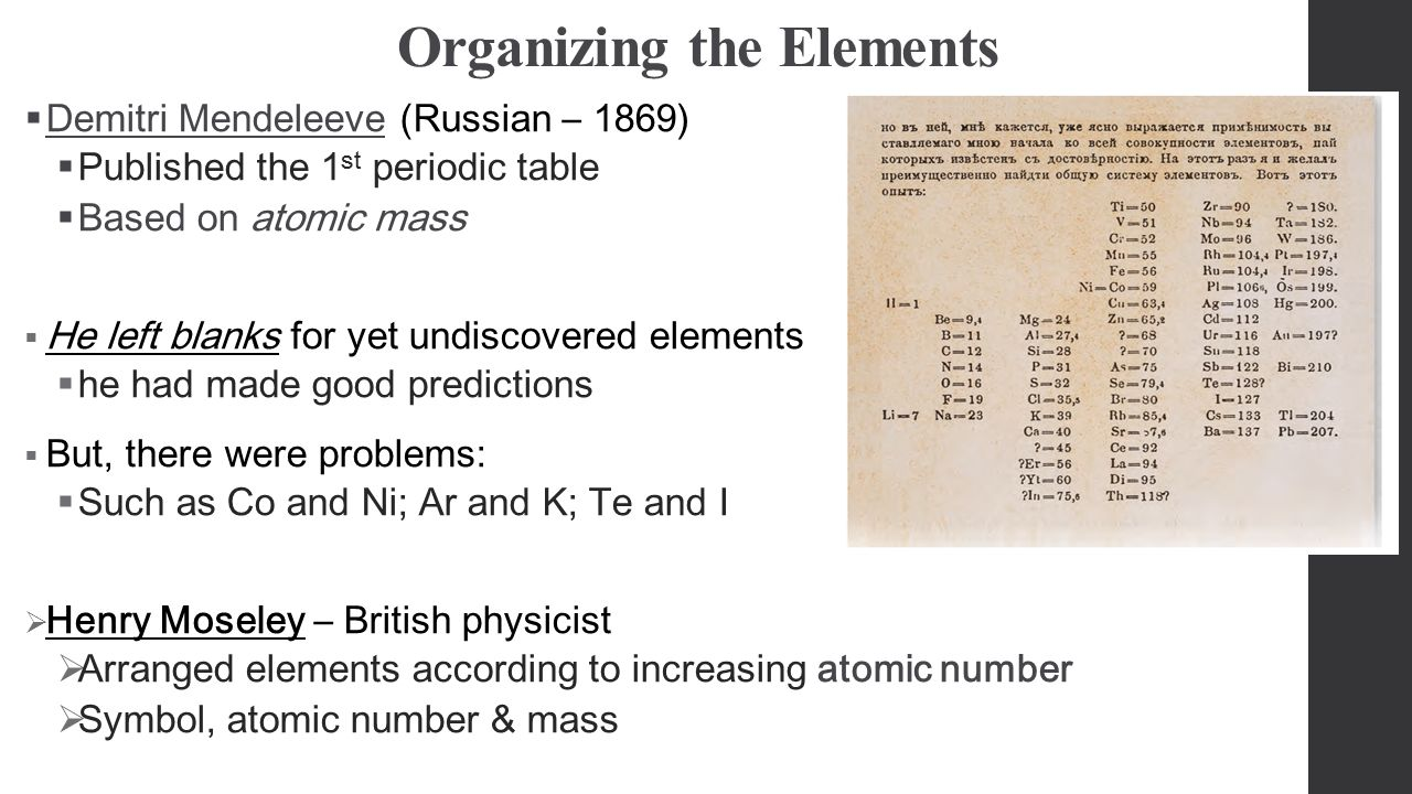 The periodic table chapter 6 organizing the elements demitri the periodic table chapter 6 2 organizing the elements gamestrikefo Choice Image