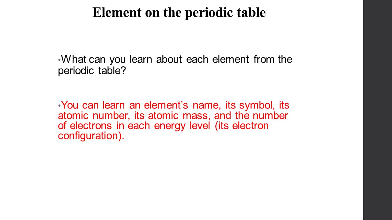 The periodic table chapter 6 organizing the elements demitri what can you learn about each element from the periodic table gamestrikefo Images