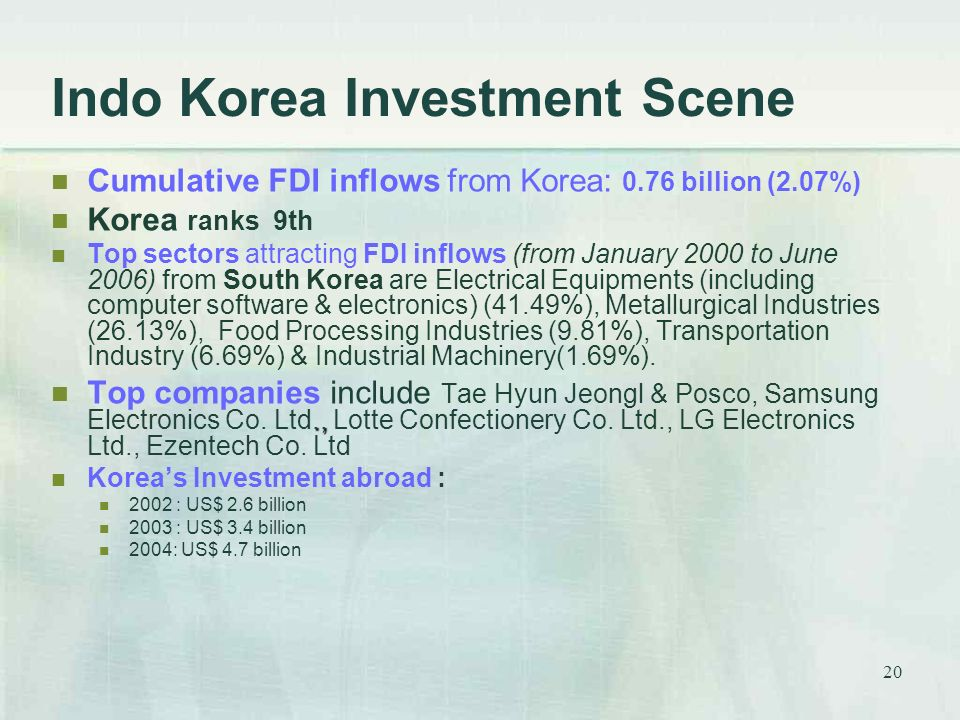 20 Indo Korea Investment Scene Cumulative FDI inflows from Korea: 0.76 billion (2.07%) Korea ranks 9th Top sectors attracting FDI inflows (from January 2000 to June 2006) from South Korea are Electrical Equipments (including computer software & electronics) (41.49%), Metallurgical Industries (26.13%), Food Processing Industries (9.81%), Transportation Industry (6.69%) & Industrial Machinery(1.69%).., Top companies include Tae Hyun Jeongl & Posco, Samsung Electronics Co.