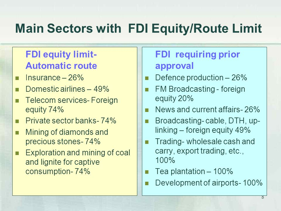 8 Main Sectors with FDI Equity/Route Limit FDI equity limit- Automatic route Insurance – 26% Domestic airlines – 49% Telecom services- Foreign equity 74% Private sector banks- 74% Mining of diamonds and precious stones- 74% Exploration and mining of coal and lignite for captive consumption- 74% FDI requiring prior approval Defence production – 26% FM Broadcasting - foreign equity 20% News and current affairs- 26% Broadcasting- cable, DTH, up- linking – foreign equity 49% Trading- wholesale cash and carry, export trading, etc., 100% Tea plantation – 100% Development of airports- 100%