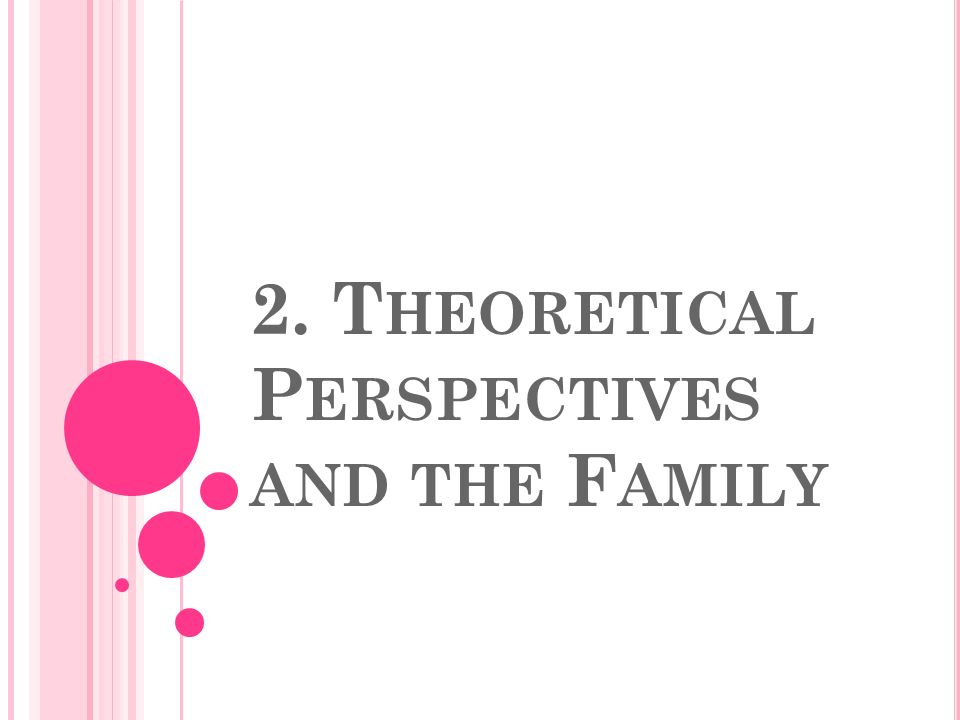 2. T HEORETICAL P ERSPECTIVES AND THE F AMILY