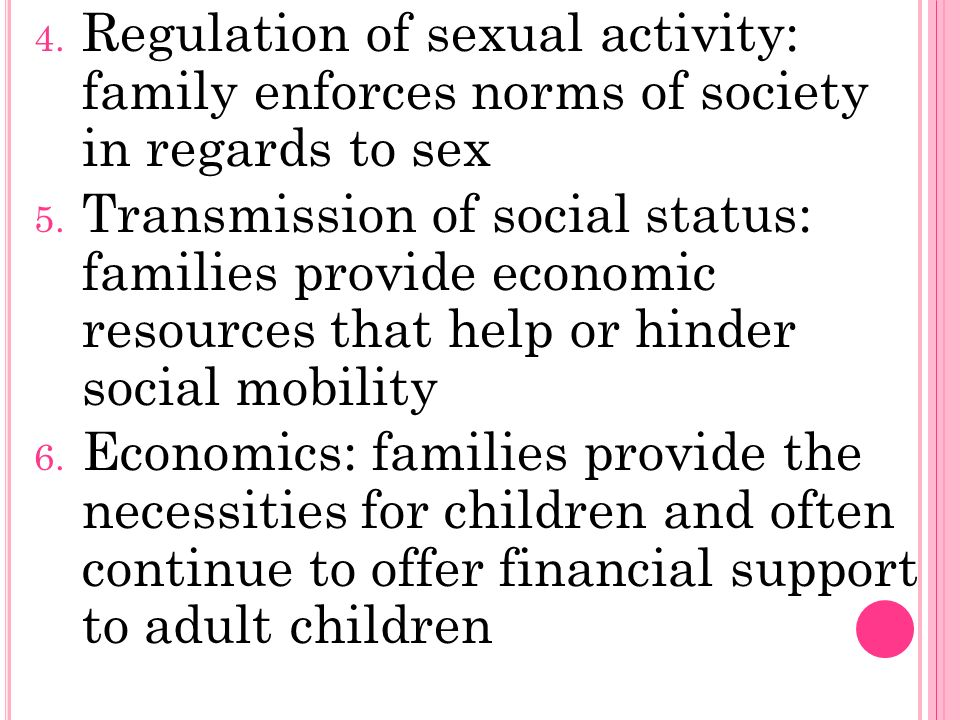 4. Regulation of sexual activity: family enforces norms of society in regards to sex 5.