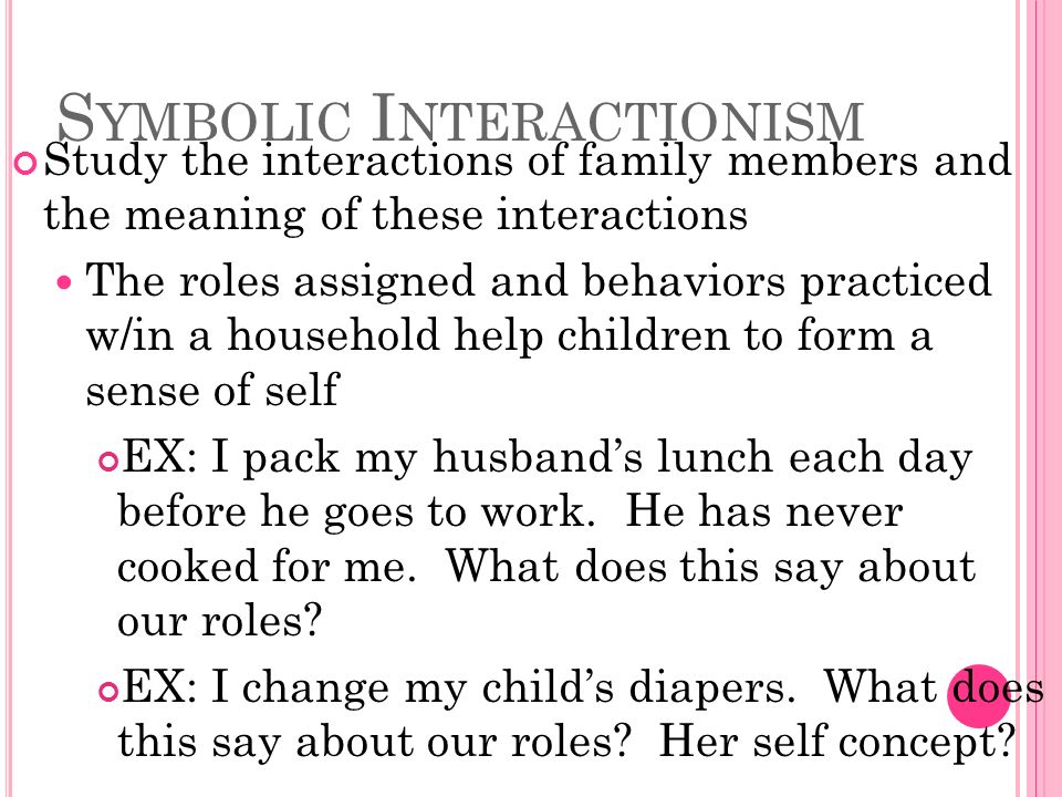 S YMBOLIC I NTERACTIONISM Study the interactions of family members and the meaning of these interactions The roles assigned and behaviors practiced w/in a household help children to form a sense of self EX: I pack my husband's lunch each day before he goes to work.