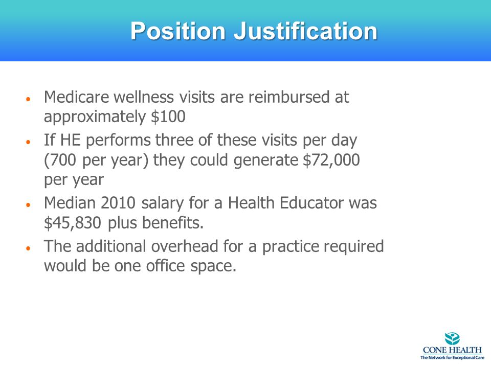 Medicare wellness visits are reimbursed at approximately $100 If HE performs three of these visits per day (700 per year) they could generate $72,000 per year Median 2010 salary for a Health Educator was $45,830 plus benefits.