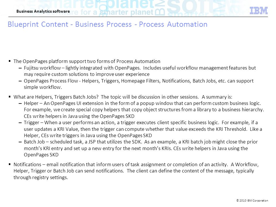 2010 ibm corporation business analytics software ibm openpages 2010 ibm corporation business analytics software blueprint content business process process automation malvernweather Gallery
