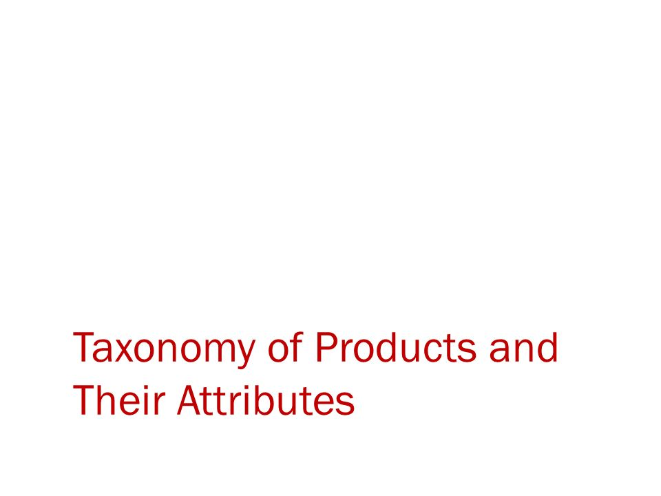Taxonomy of Products and Their Attributes