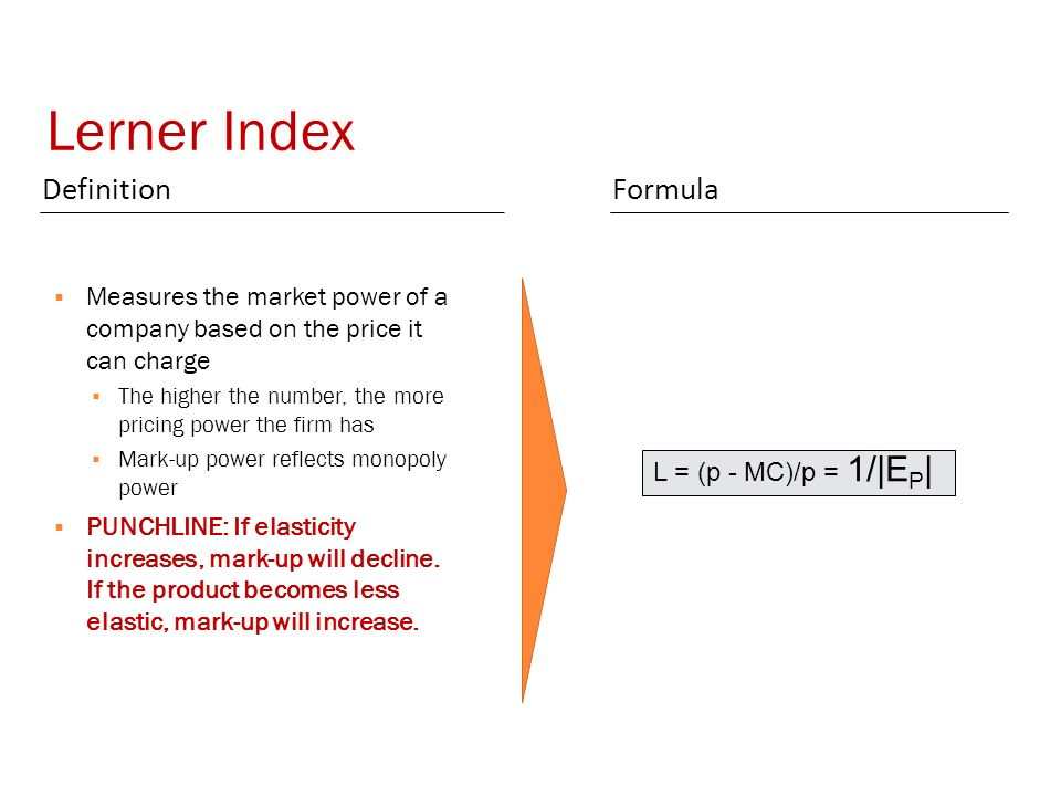 Lerner Index DefinitionFormula  Measures the market power of a company based on the price it can charge  The higher the number, the more pricing power the firm has  Mark-up power reflects monopoly power  PUNCHLINE: If elasticity increases, mark-up will decline.
