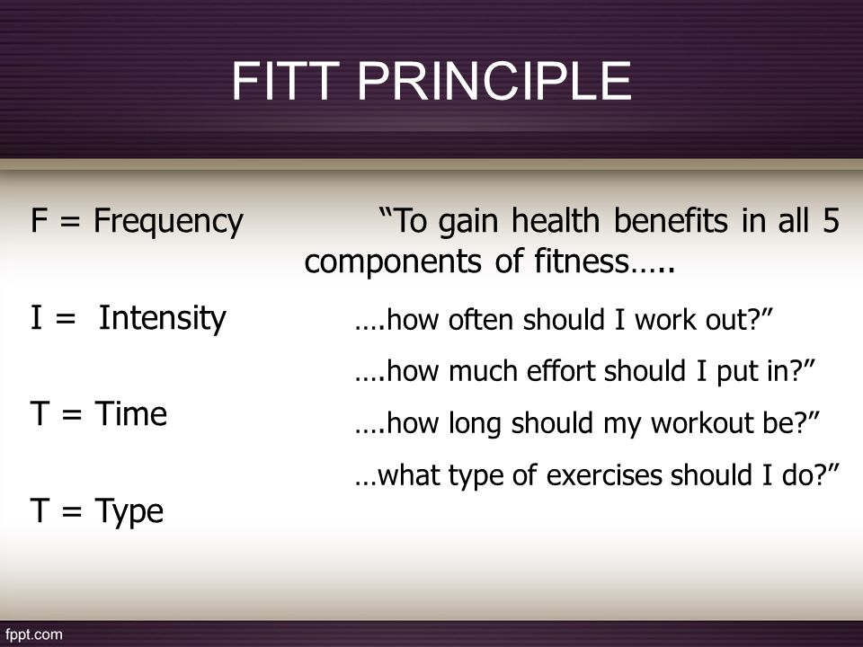 how fitt can be applied to all five fitness areas Fitt principles chart fitness and/or health benefit variables f frequency i intensity t time t type cardiovascular endurance (aerobic) • 3 to 5 times.
