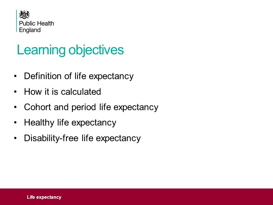 2 Learning Objectives Life Expectancy Definition Of Life Expectancy How It  Is Calculated Cohort And Period Life Expectancy Healthy Life Expectancy ...