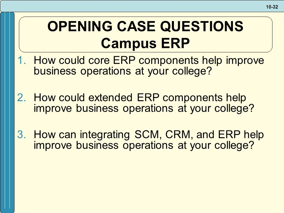 10-32 OPENING CASE QUESTIONS Campus ERP 1.How could core ERP components help improve business operations at your college.