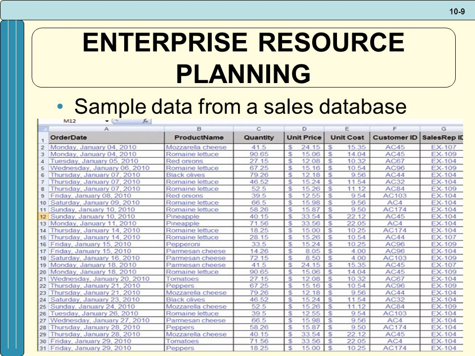 10-9 ENTERPRISE RESOURCE PLANNING Sample data from a sales database