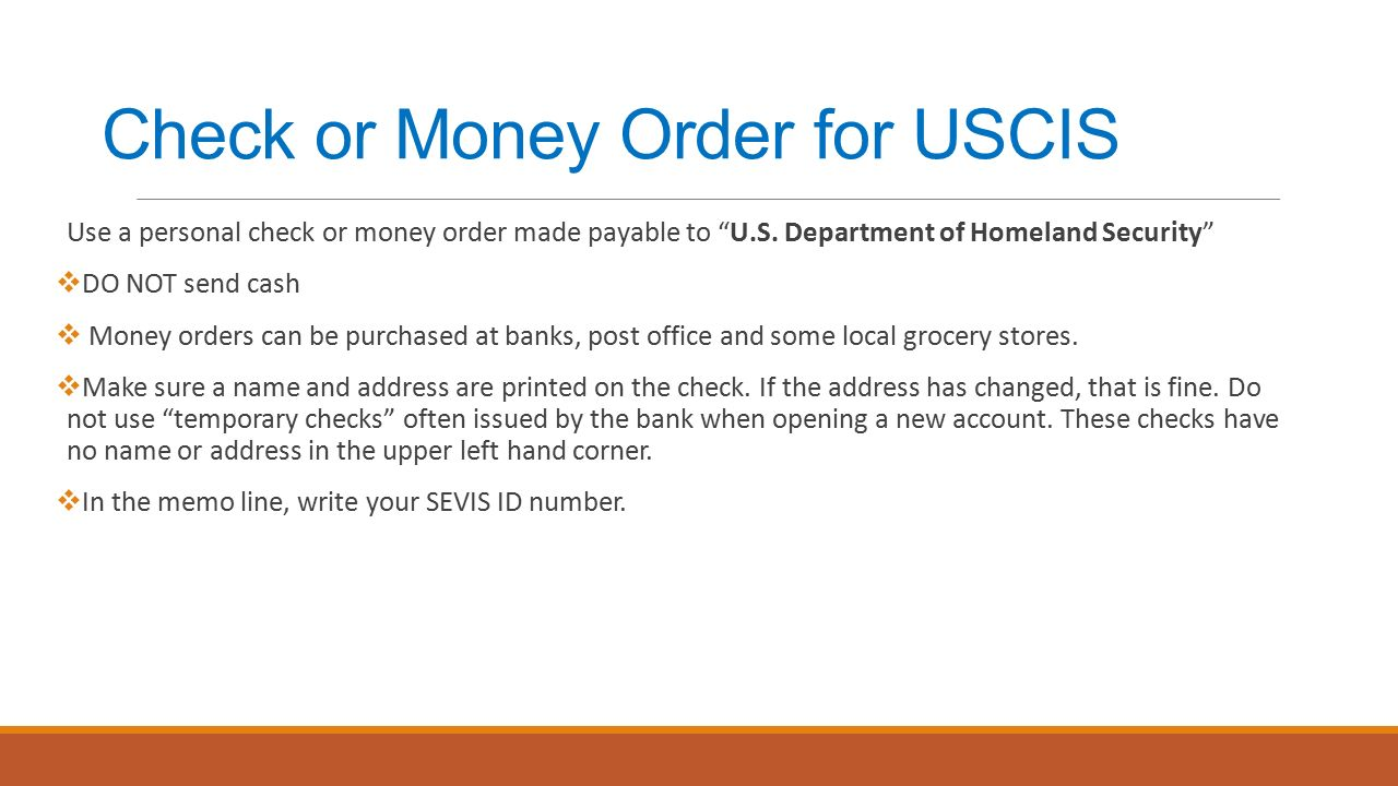 Check Or Money Order For Uscis Use A Personal Check Or Money Order Made  Payable To Fill Out
