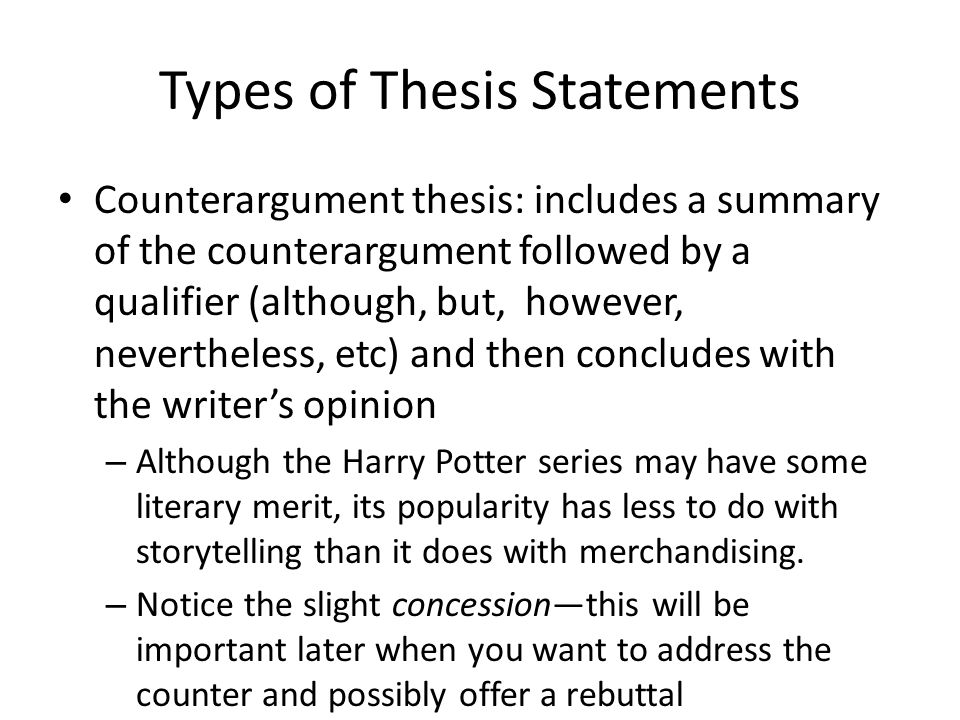 although nevertheless because thesis statement