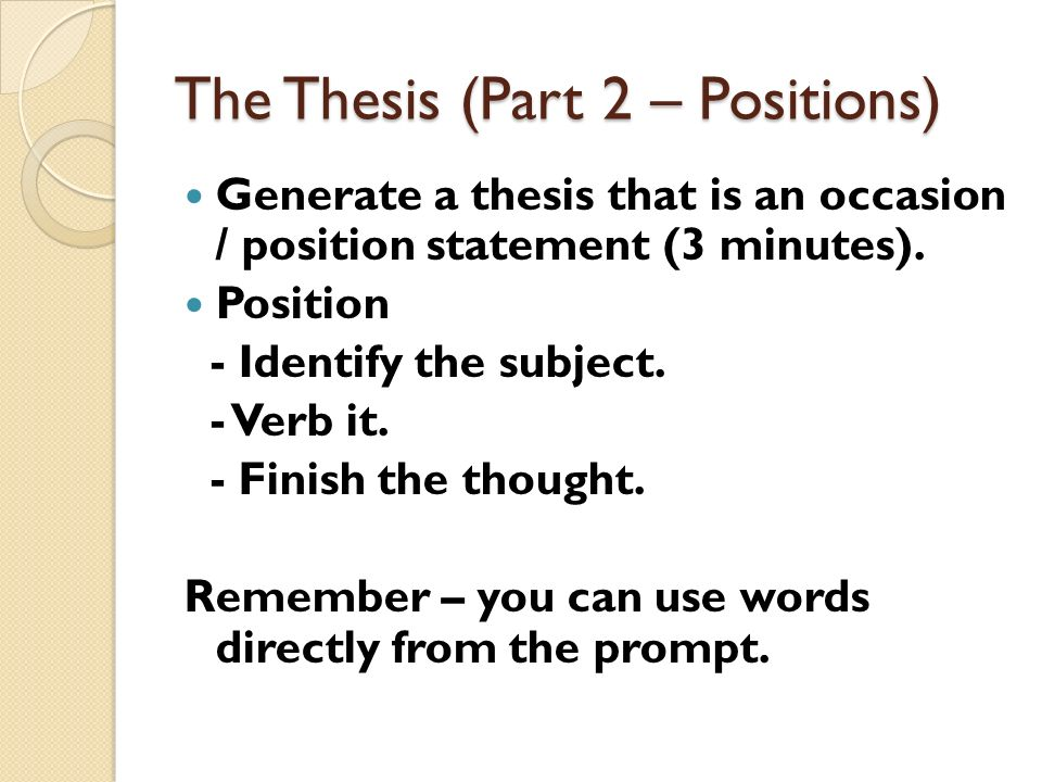 occasion position thesis