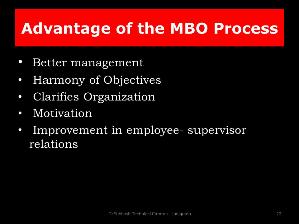 Advantage of the MBO Process Better management Harmony of Objectives Clarifies Organization Motivation Improvement in employee- supervisor relations Dr.Subhash Technical Campus - Junagadh20