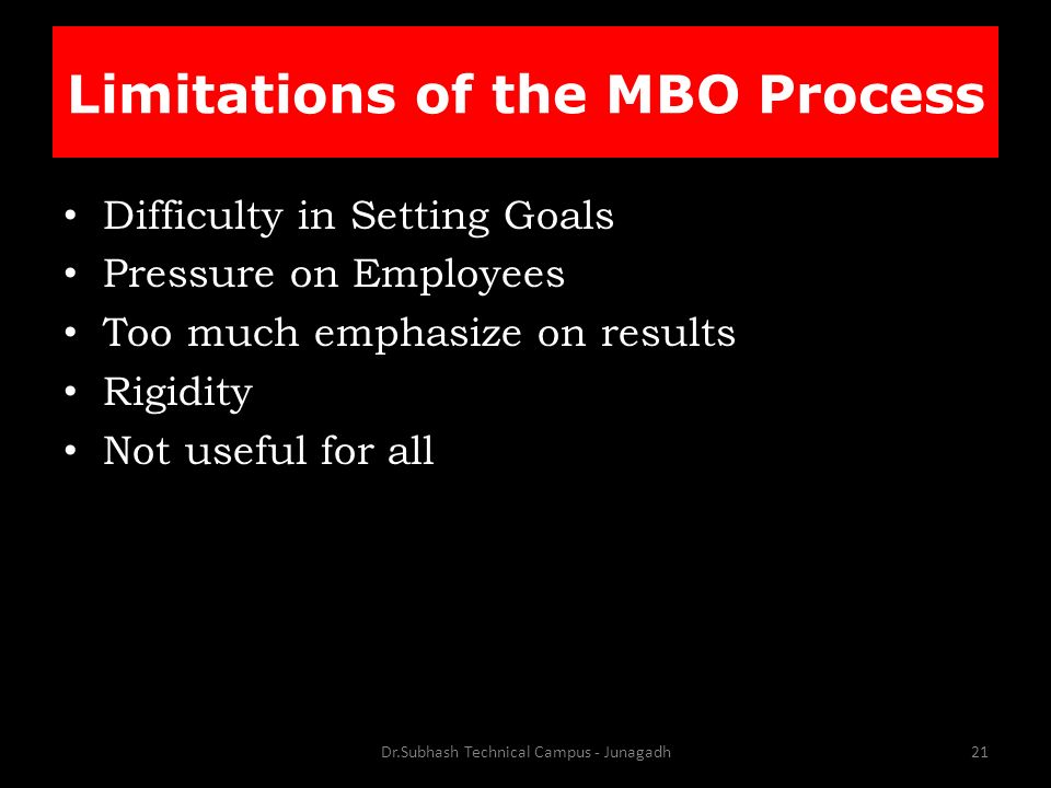 Difficulty in Setting Goals Pressure on Employees Too much emphasize on results Rigidity Not useful for all Dr.Subhash Technical Campus - Junagadh21 Limitations of the MBO Process