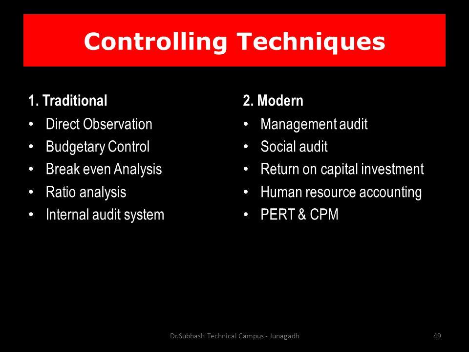 Controlling Techniques 1.