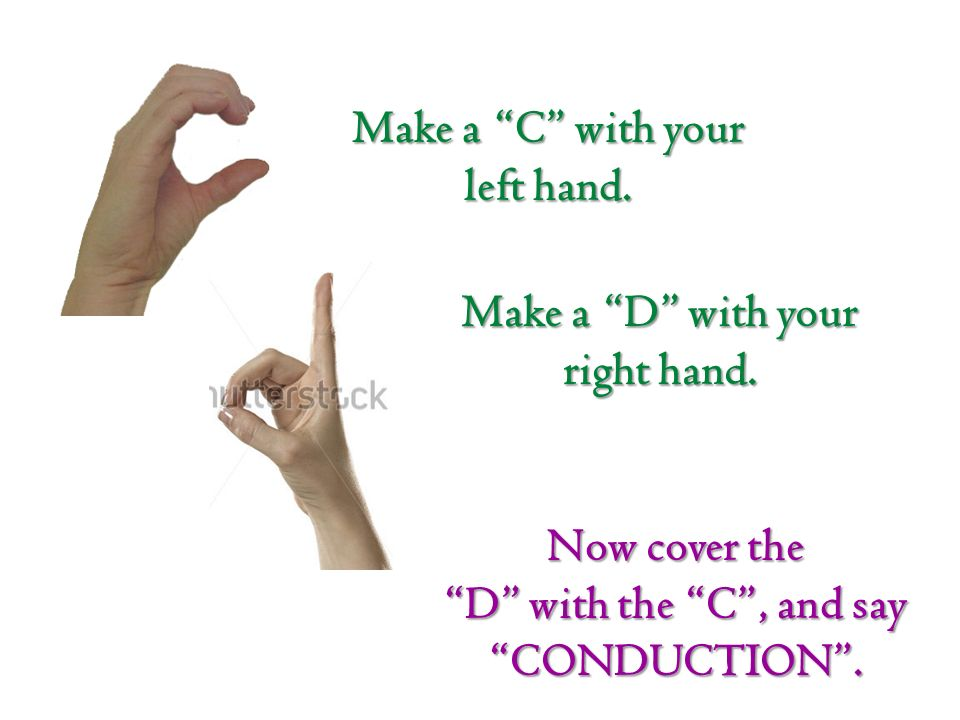 Make a C with your left hand. Make a D with your right hand.