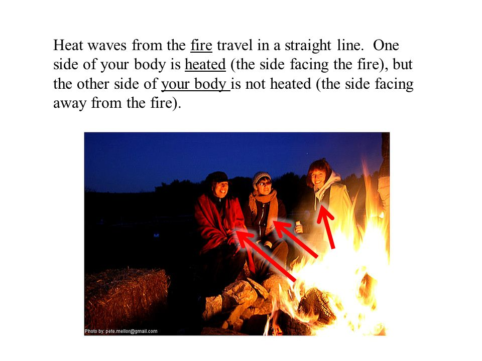 Heat waves from the fire travel in a straight line.