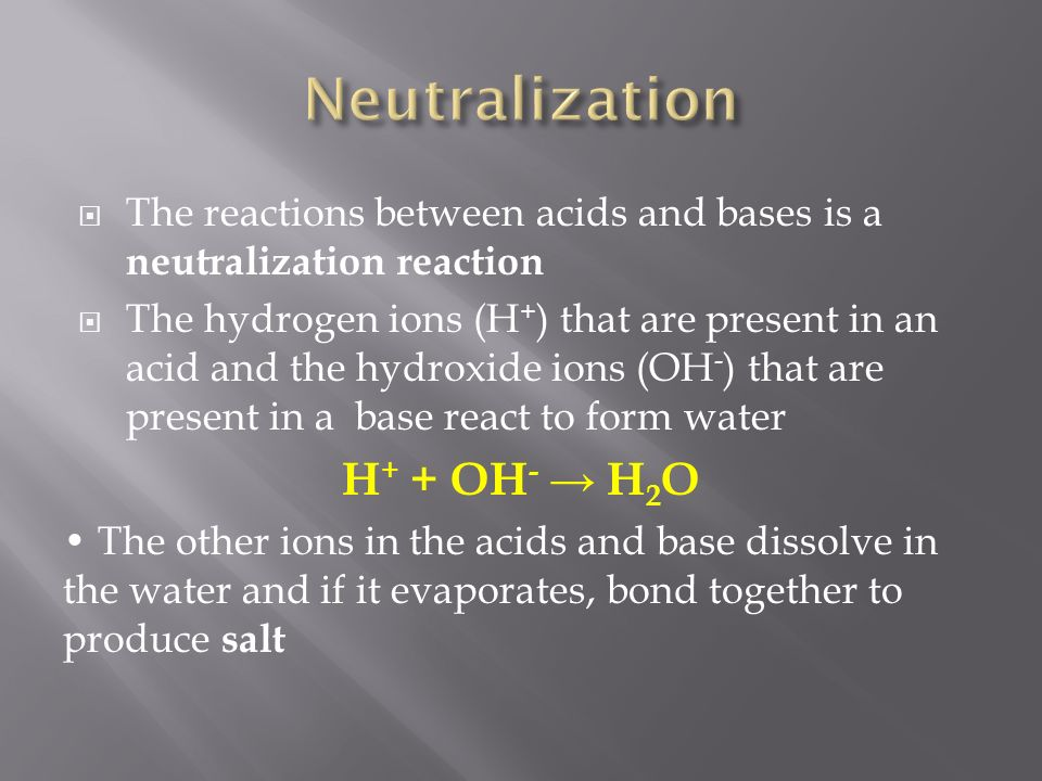 accent neutralization the first reaction A neutralization reaction is when an acid and a base react to form water and a salt and involves the combination of h+ the first will be the titration of an acid.