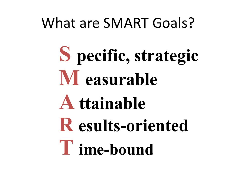 What are SMART Goals? S pecific, strategic M easurable A ttainable R esults-oriented T ime-bound